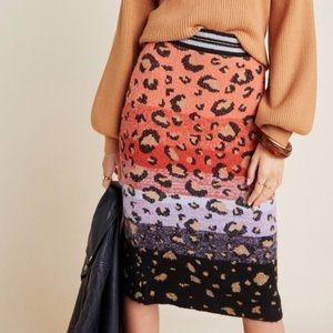 Maeve anthropology leopard print knit pencil skirt
